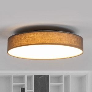 Joli plafonnier en tissu LED Saira en gris LAMPENWELT