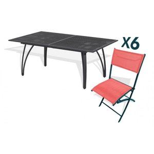 Ensemble table 6 chaises pliantes aluminium et textilène corail LE REVE CHEZ VOUS