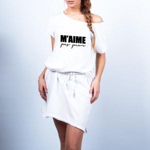Robe loose oversize blanc -  M'aime pas peur noir AN FAMILLE