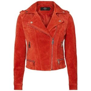 Veste cuir femme orange
