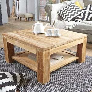 Table basse en bois de teck 80 BOSTON BOIS DESSUS BOIS DESSOUS