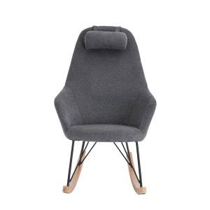 Rocking chair en tissu, métal et frêne jaune Evy ZAGO