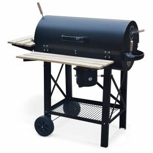 Barbecue charbon de bois Serge noir, fumoir, Smoker américain, récupérateur de cendre, tablettes, roulettes ALICE S GARDEN