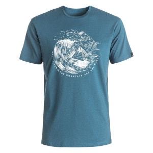 Tee Shirt Garment Dye Engraved Indian Teal QUIKSILVER
