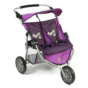 (Art. poupées) 697 28 Poussette Jogger 3 roues pour poupées jumelles - Purple Checker BAYER CHIC 2000