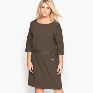 Sukienka prosta, z paskiem, rękaw 3/4 CASTALUNA