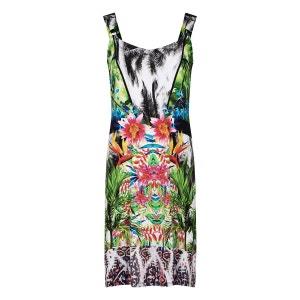 Robe jersey exotique jungle monique BLEU D'AZUR