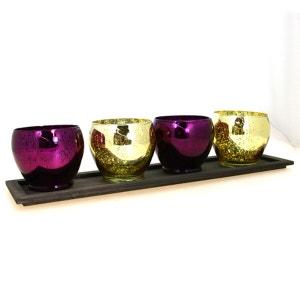 Lot de 4 photophores Centre de table - Or et violet COMPTOIR DES BOUGIES