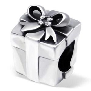 Charm Perle Paquet Cadeau Oxyde de Zirconium Blanc Argent 925 - Compatible Pandora, Trollbeads, Chamilia, Biagi SO CHIC BIJOUX