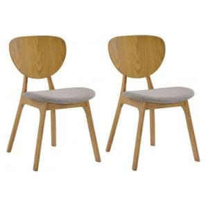 Lot de 2 chaises YANN en bois hévéa revêtement chocolat et pieds chêne clair DECLIKDECO