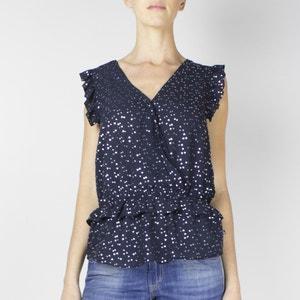 Bedrukte blouse met V-hals zonder mouwen LE TEMPS DES CERISES