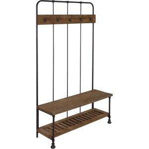 Vestiaire avec banc en bois et métal vieilli noir Atelier ZAGO