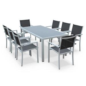 Salon de jardin aluminium table 180cm, 8 fauteuils en textilène gris et alu Blan ALICE S GARDEN