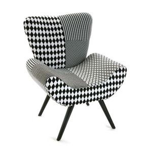 Fauteuil forme design en tissu Patchwork blanc et noir et pieds bois noirs 72x70x83cm URBAN PIER IMPORT
