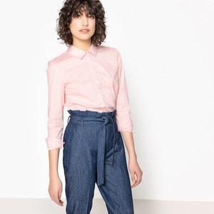 Рубашка однотонная с длинными рукавами, рубашечный воротник La Redoute Collections