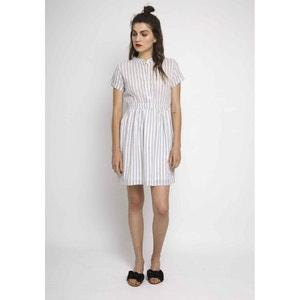 Gestreiftes, kurzärmeliges Kleid mit elastischem Bund COMPANIA FANTASTICA