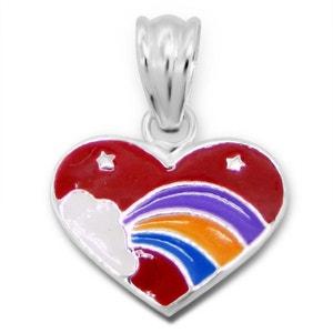 Pendentif pour enfant en argent 925 en forme de coeur à … l'arc-en-ciel EXOTIC EXPRESS