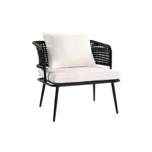 Lot de 2 fauteuils de jardin en fils de résine façon rotin noir MONACO MILIBOO