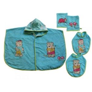 Poncho de bain bébé, bavoirs, gants bleu 0-2 ans POUSSIN BLEU