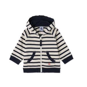 Sweat zippé bébé garçon en jersey lourd rayé PETIT BATEAU
