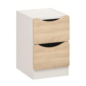 Chevet 2 tiroirs blanc et bois clair CH3000 TERRE DE NUIT