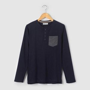Camiseta de manga larga con bolsillo a rayas 10-16 años La Redoute Collections