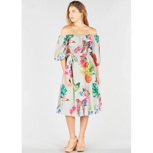 Off the Shoulder Floral Print Dress RENE DERHY