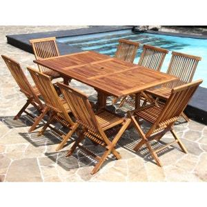 Salon de jardin en bois de teck huilé 8 pers Table rect larg 100cm 8 chaises BOIS DESSUS BOIS DESSOUS