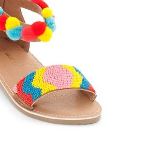 Sandálias em pele, borlas e contas abcd'R