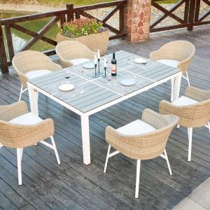 Carcina 6 : table de jardin en aluminium et polywood 6 personnes + 6 fauteuils en rotin tressé CONCEPT USINE
