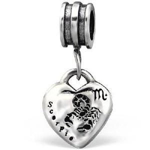 Charm Perle Pampille Scorpion Zodiaque Signe Astrologique Argent 925 - Compatible Pandora, Trollbeads, Chamilia, Biagi SO CHIC BIJOUX