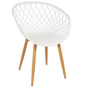 Chaise Fauteuil Relax blanc façon grillage 58x62,5x81cm ZAIN PIER IMPORT