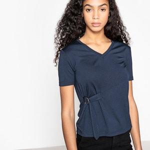 T-shirt manches courtes col V boucle côté La Redoute Collections