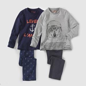 Pijama de punto estampado marinero 2-12 años (lote de 2) La Redoute Collections
