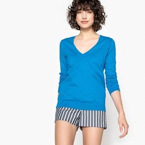 Pull scollo a V, maglia fine puro cotone, maniche lunghe La Redoute Collections