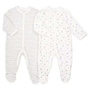 Pijama a rayas con estrellas, lote de 2, prematuro - 3 años La Redoute Collections
