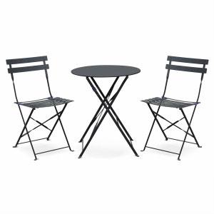 Salon de jardin bistrot pliable Emilia rond gris anthracite, table Ø60cm avec deux chaises pliantes, acier thermolaqué ALICE S GARDEN