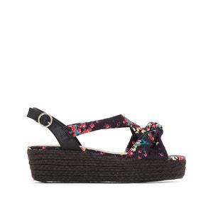 Sandalen met sleehak, strikje en Japanse print MADEMOISELLE R