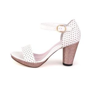 Sandales a talon en cuir et paillettes blanc ABIGAIL