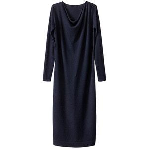 Платье трикотажное средней длины с воротником-качелями и разрезом снизу La Redoute Collections