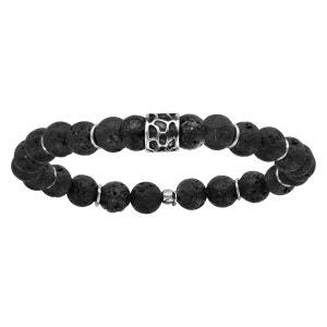 Bracelet Elastique Perles Noires Pierre de Lave Noire Argent 925 SO CHIC BIJOUX