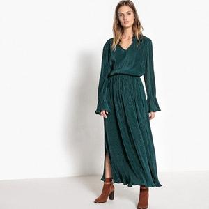 Robe longue fendue, lien coulissant pompon La Redoute Collections