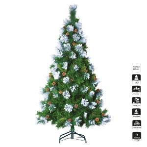 Sapin de Noël artificiel Semi-floqué - H. 240 cm - Vert et blanc FEERIE CHRISTMAS