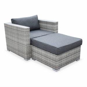 Salon de jardin Genova, fauteuil + pouf en résine tressée nuances de gris, coussins Gris ALICE S GARDEN