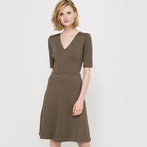 Wijde jurk in milano tricot met V-hals atelier R