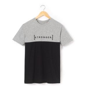 T-shirt bicolor, 10-16 anos, com impressão Stronger R pop