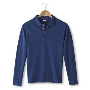 Long-Sleeved Piqué Knit Polo Shirt R essentiel