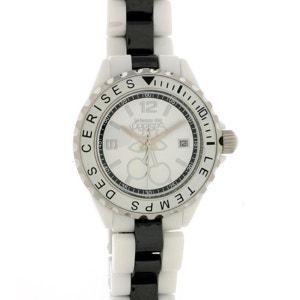 Montre Le Temps Des Cerises En Céramique Avec Bracelet Blanc Et Noir Pour Femme LE TEMPS DES CERISES