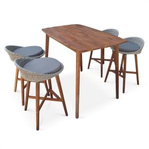 Ensemble bar Mallorca en bois FSC et résine tressée arrondie, design scandinave, 4 tabourets et 1 table haute, coussins inclus ALICE S GARDEN