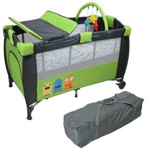 Lit parapluie bébé 60 cm x 120 cm + Matelas et Accessoires - Vert MONSIEUR BEBE